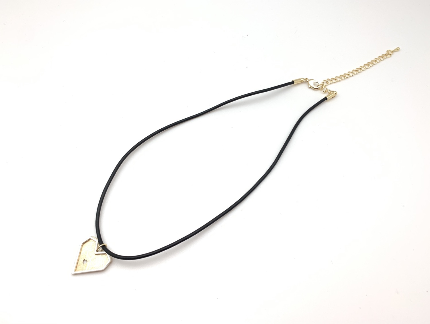"""Thumbnail: NG67 Gold and Silver Black Cord Necklace 16""""-18"""" w/extension"""
