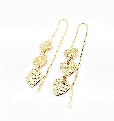 H74 Three Heart Checkered Thread Earrings