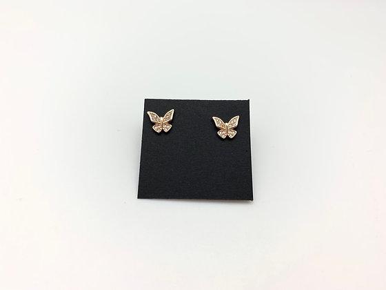 H109 Gold CZ Pave Butterfly