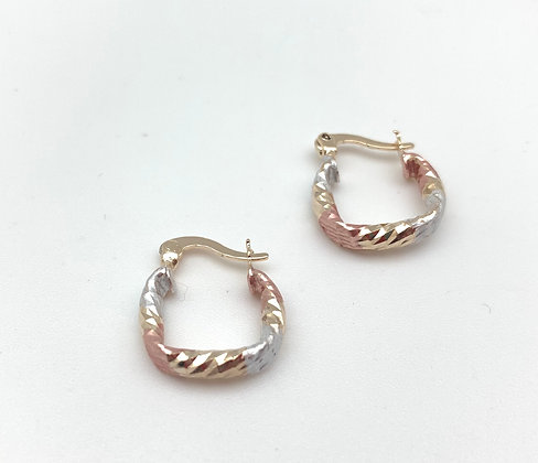 H155 Tricolor Small Square Hoop Earrings