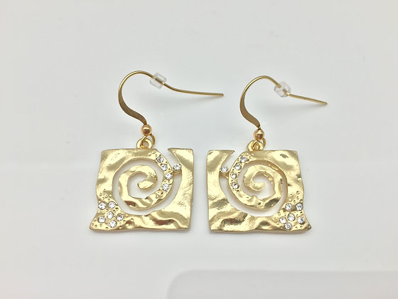 ES 8. Gold Chiyogami Earring
