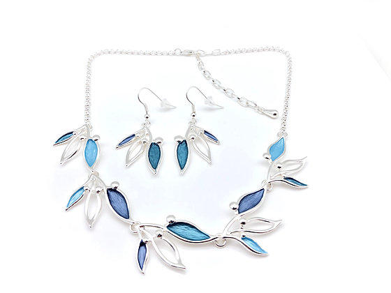 #63 Blue Bird of Paradise Necklace EarringsSet