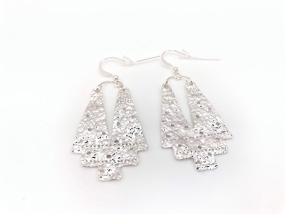 ESS377 Silver Haori  Kimono Earrings