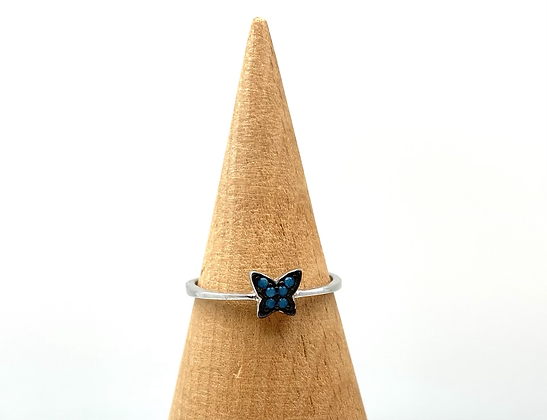 SR19 Turquoise Silver Butterfly Ring size 4-10