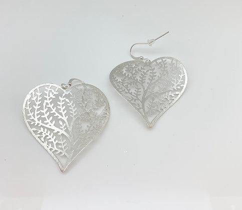 ES299 Silver Coral Heart Earrings
