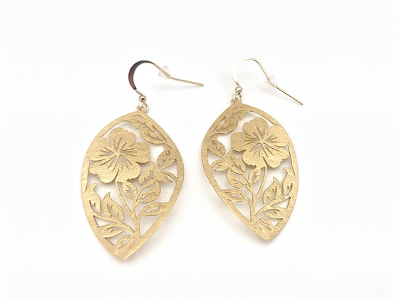 EG378 Gold Happy Hibiscus Earrings