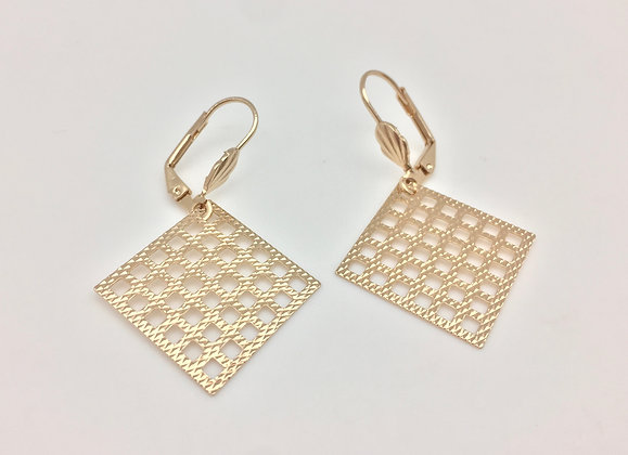 H13 Geometric Square Er, Gold Fill, Lever Wire