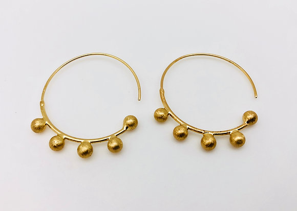 EG179 Gold Beaded Hoop