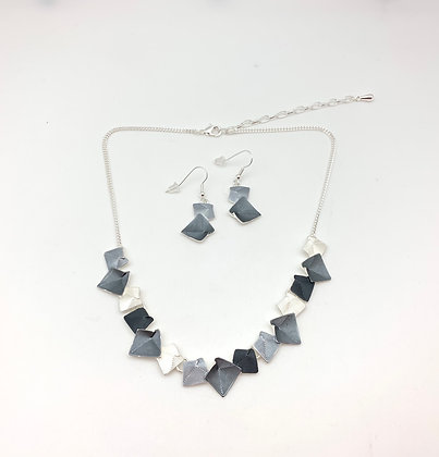 #90 Grey Squares Necklace and Earrings Set