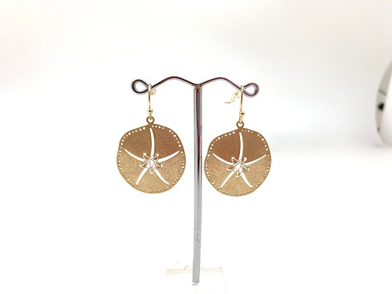 EG396 Gold and Silver Sandollar Earrings