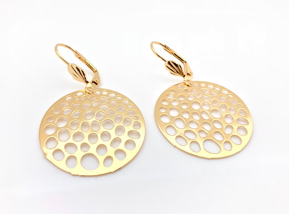 H80 Gold DIsk Circle Earrings