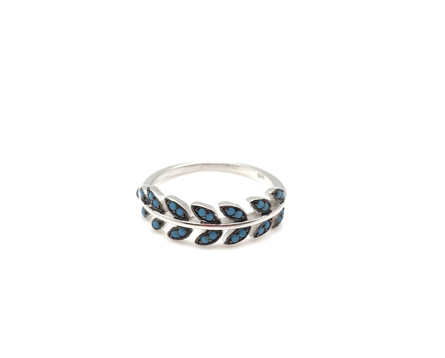 Thumbnail: SR5 Micro Turquoise Sterling Silver Ring Size 5, 6, 7, 8, 9, 10