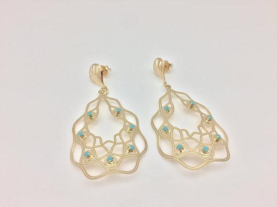 H25 Turquoise Alhambra Er, Gold Fill, Lever Back