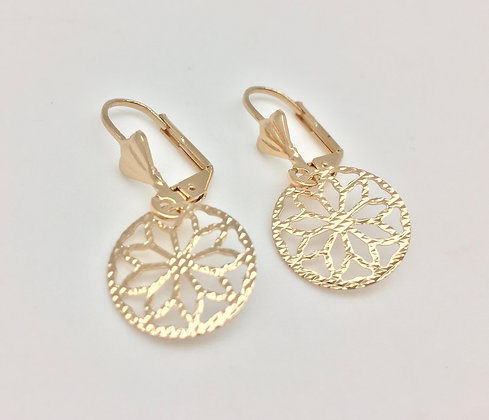 H8 Floral Cutout Earring, Gold Fill, Lever Wires