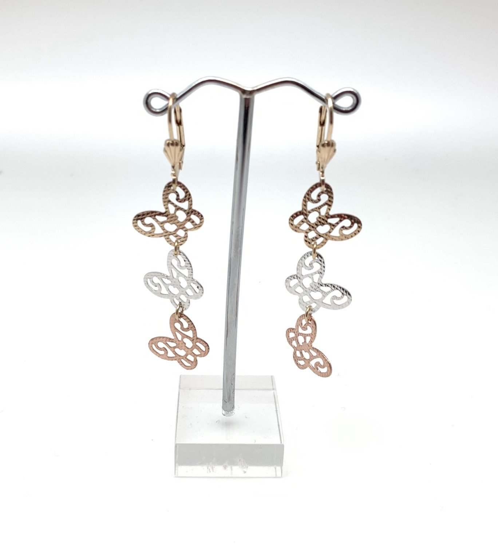 Thumbnail: H127 Tricolor Butterfly Dangly Earrings, Best Selling