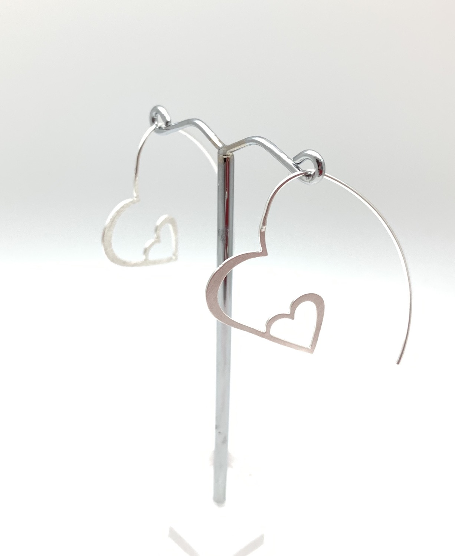 Thumbnail: ES429 Silver Heart Hoops