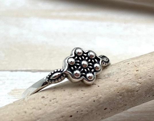 SR7 Bali Little Mandala Silver Ring, Size 4 to 10