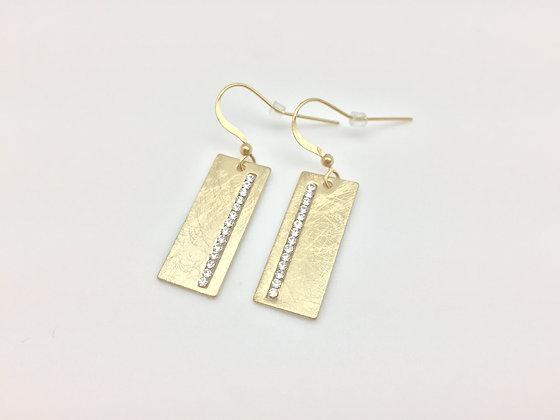 EG45 Gold Sparkling Small Rectangle Earrings