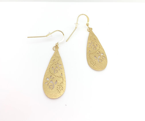EG308 Gold Embroidered Flower Earrings