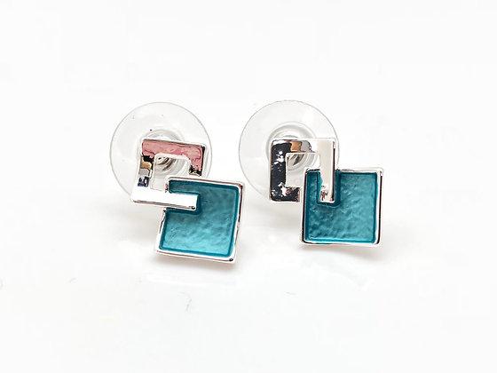 SE19 Ocean Blue Square Post Earrings