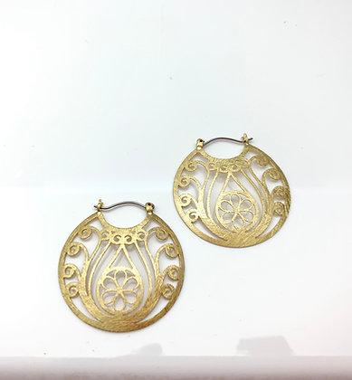 EG318 Gold Flower Basket Hana Kago Earrings