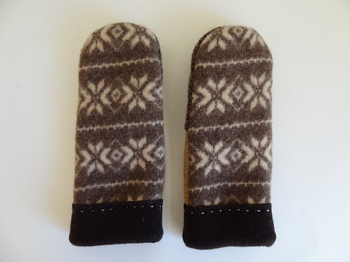 Men's recycled - repurposed wool mittens: 1 available; brown/tan