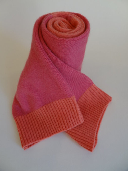 Ultra soft recycled - repurposed cashmere scarf: 1 available; pink and salmon