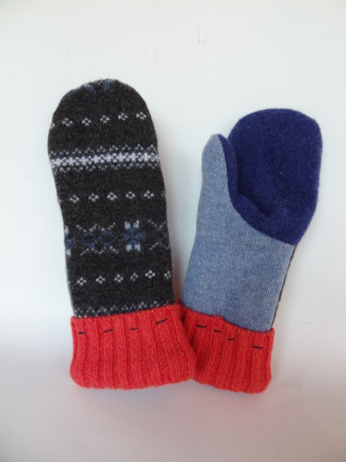 Women's recycled - repurposed wool mittens: 1 available; gray/blue/orange