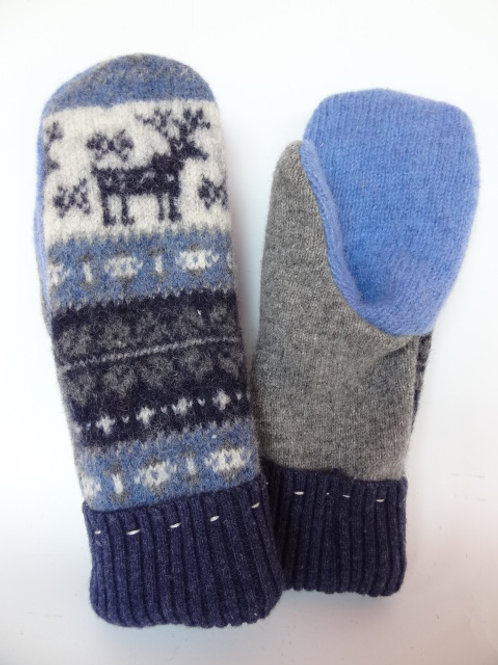Women's recycled - repurposed wool mittens: 1 available; navy/gray/blue