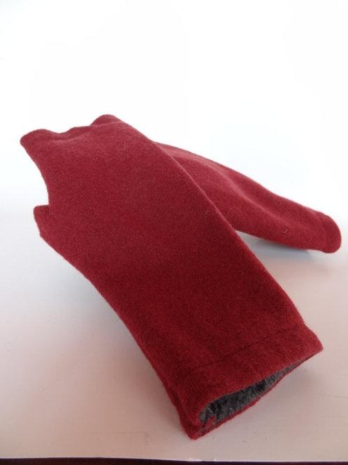 Women's recycled - repurposed wool fingerless gloves: 1 avail.; dark red/orange