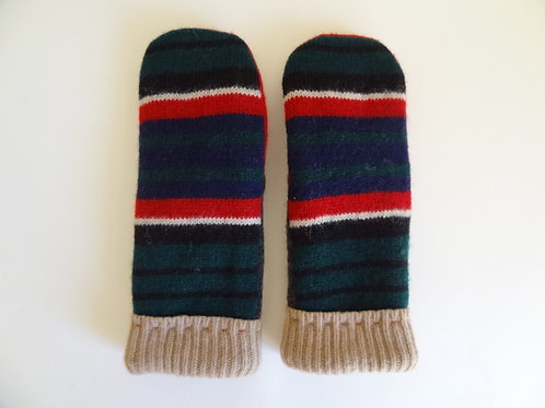 Men's recycled - repurposed wool mittens: 1 available; red/green/gray