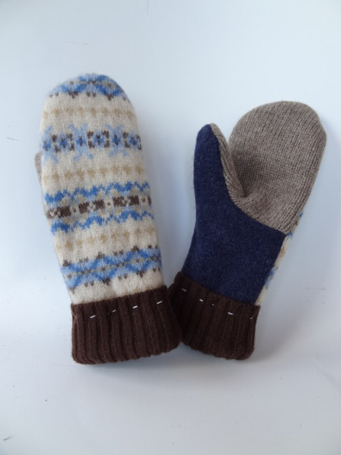 Children's recycled - repurposed wool mittens: 1 available; blue/brown/tan