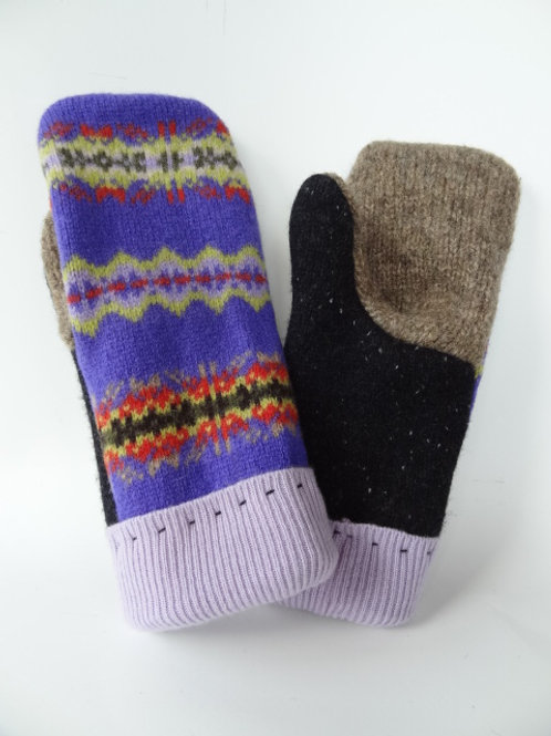 Women's Generous recycled - repurposed wool mittens: 1 available; tan/purple