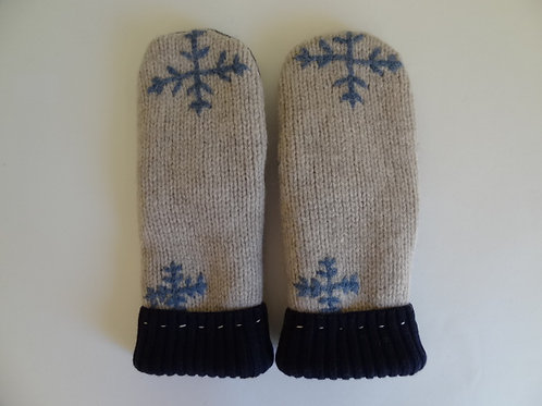 Men's recycled - repurposed wool mittens: 1 available; tan/blue/gray