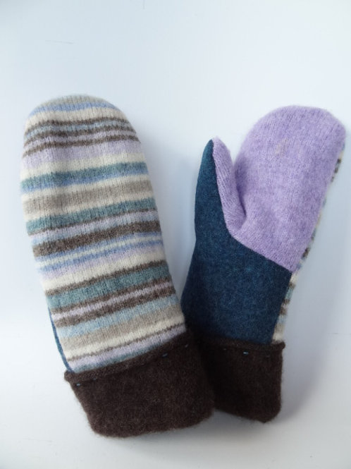 Children's recycled - repurposed wool mittens: 1 available; purple/brown/blue
