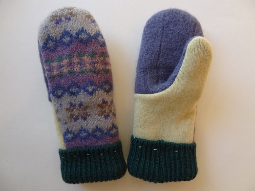 Children's recycled - repurposed wool mittens: 1 available; purple/green/yellow