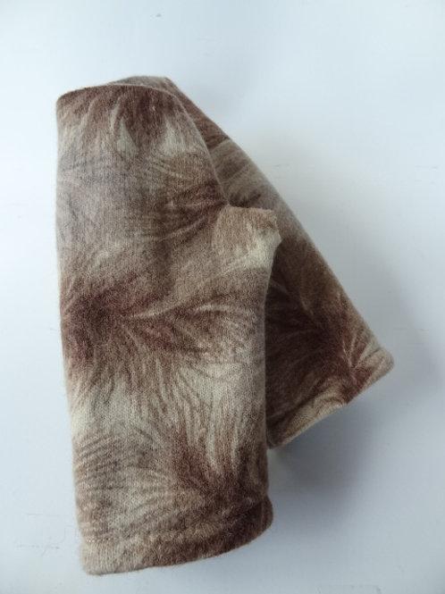 Women's recycled - repurposed wool fingerless gloves: 1 avail.; tan/brown