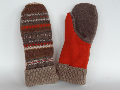 Women's recycled - repurposed wool mittens: 1 available; brown/orange