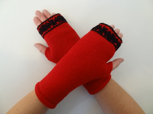 Women's recycled - repurposed wool fingerless gloves: 1 avail.; red, black