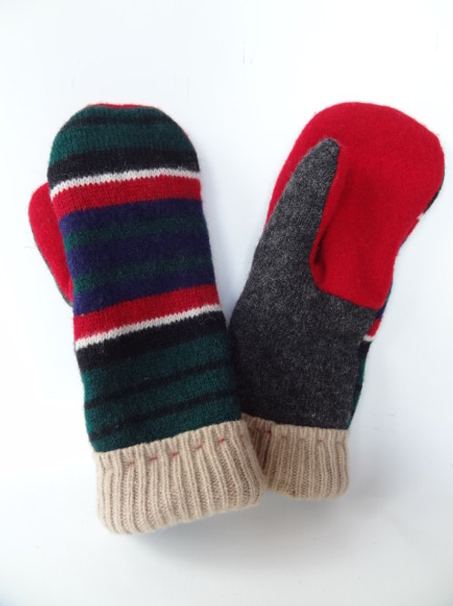 Men's recycled - repurposed wool mittens: 1 available; gray/green/red/tan