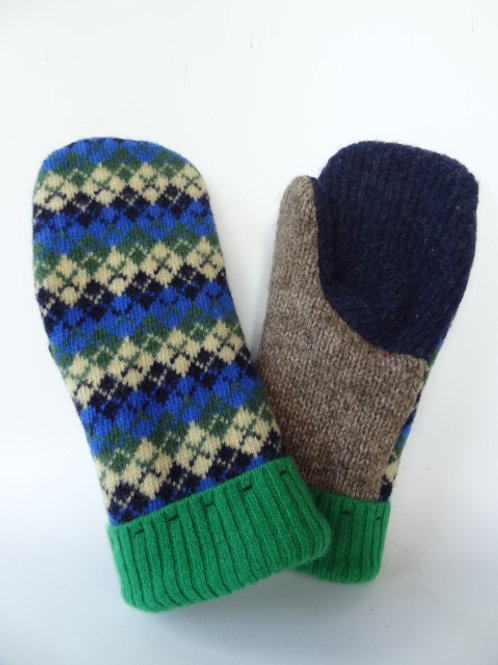 Women's Generous recycled - repurposed wool mittens: 1 available; blue/green/tan