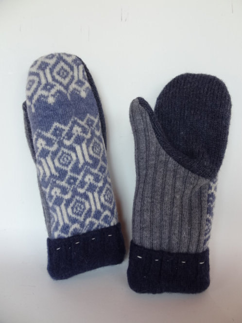 Women's recycled - repurposed wool mittens: 1 available; blue/gray/white