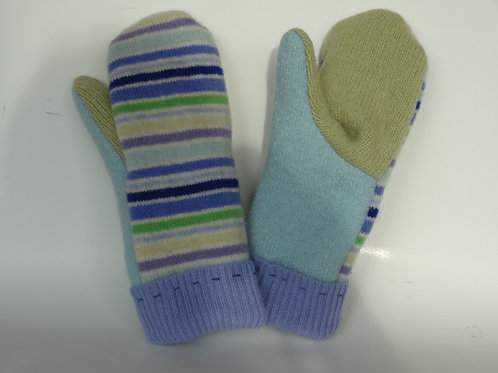 Women's recycled - repurposed wool mittens: 1 available; green/blue/purple