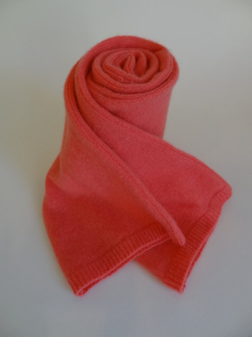 Ultra soft recycled - repurposed cashmere scarf: 1 available; salmon