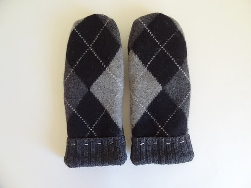 Men's recycled - repurposed wool mittens: 1 available; black/gray