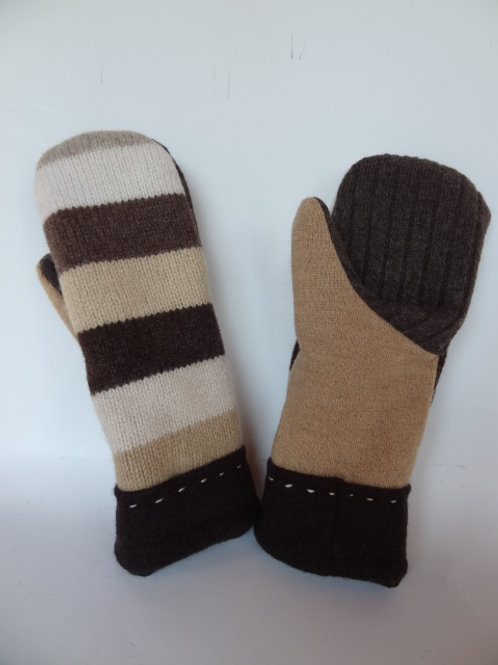 Women's recycled - repurposed wool mittens: 1 available; brown/tan/white