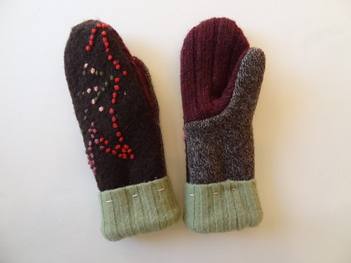 Children's recycled - repurposed wool mittens: 1 available; brown/burgandy/green