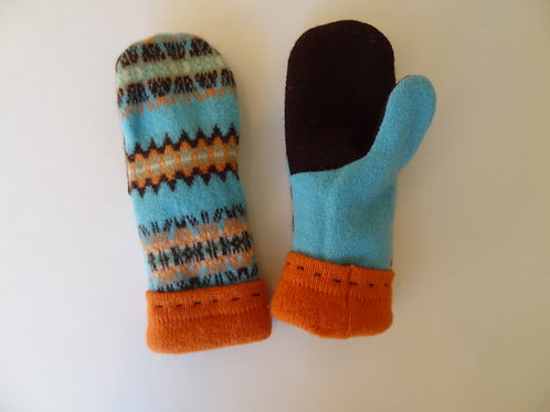Children's recycled - repurposed wool mittens: 1 available; blue/orange/brown