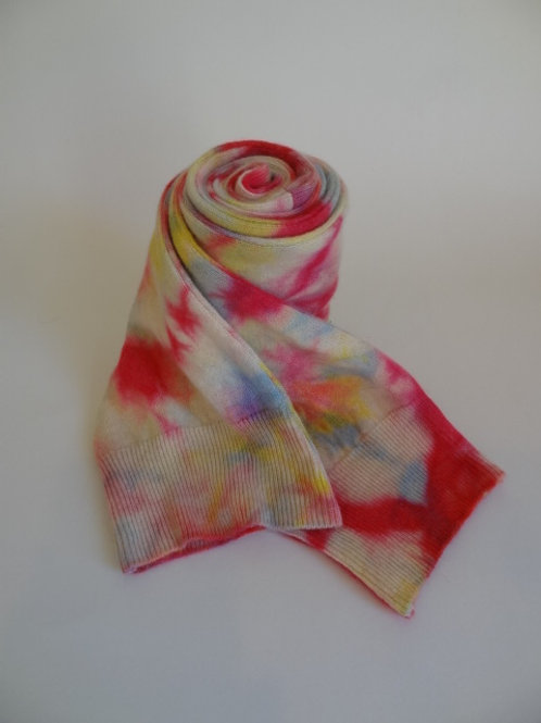 Ultra soft recycled - repurposed cashmere scarf: 1 available; tie-dye