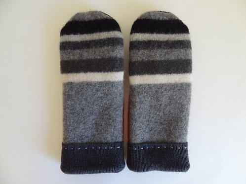 Men's recycled - repurposed wool mittens: 1 available; gray/black/red